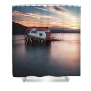 The Old Lifeboat Station At Mumbles Shower Curtain