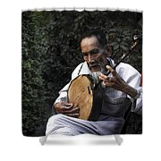 The Old Man Plays Zither Shower Curtain