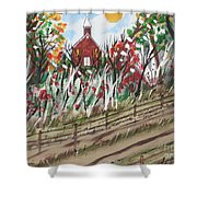 The Old Red Church Shower Curtain