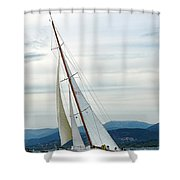 The Old Sailing Yacht At Competitions In The Gulf Of Saint Trope Shower Curtain