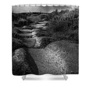 The Old Stone Track Monochrome Landscape Shower Curtain
