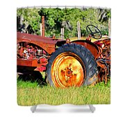 The Old Tractor In The Field Shower Curtain
