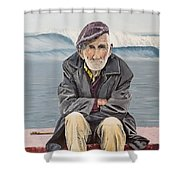 The Old Waterman Shower Curtain by Kevin Daly