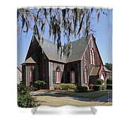 The Old Wooden Church Shower Curtain by Louise Heusinkveld