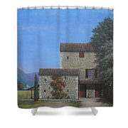 The Olive Mill Province Shower Curtain