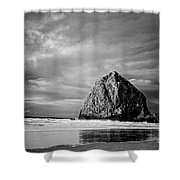 The Ominous Haystack Rock Shower Curtain