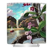 The Orchids And The Sailboat Shower Curtain