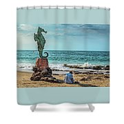 The Original Boy On The Seahorse Shower Curtain