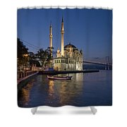 The Ortakoy Mosque And Bosphorus Bridge At Dusk Shower Curtain