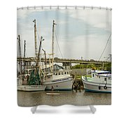 The Paddler Tybee Island Shrimp Boats Shower Curtain