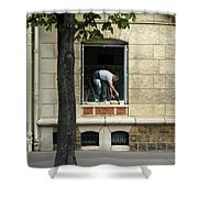 The Painter In The Window Shower Curtain