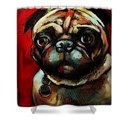 The Painted Pug Shower Curtain