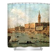 The Palace And The Molo From The Basin Of San Marco Shower Curtain