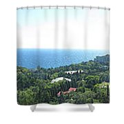 the panorama of the ancient castle on a rock, the symbol of the Republic of Crimea on the background Shower Curtain