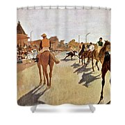 The Parade, Digitally Enhanced Highest Resolution,race Horses In Front Of The Tribune, Edgar Degas Shower Curtain