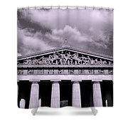 The Parthenon In Nashville Tennessee Black And White Shower Curtain