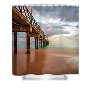 The Pastel Sky And The Jetty Shower Curtain