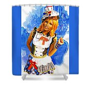 The Patriotic Fashion Girl Shower Curtain