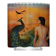 The Peacock And The Crane Shower Curtain