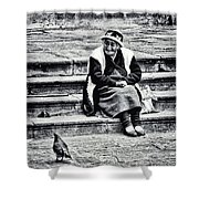 The Peruvian Lady Black And White Shower Curtain