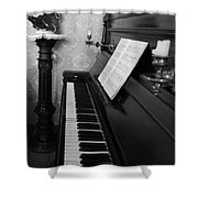 The Piano - Black And White Shower Curtain