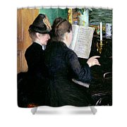 The Piano Lesson Shower Curtain by Gustave Caillebotte