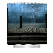 The Pier And The Storm Shower Curtain