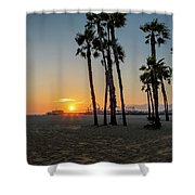 The Pier At Sunset Shower Curtain