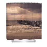 The Pier Before The Storm Shower Curtain