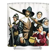 The Pilgrim Fathers Arrive In America Shower Curtain