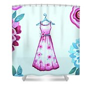 The Pink Floral Dress Shower Curtain