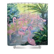 The Pink Pond Of Flamingos Shower Curtain