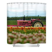 The Pink Tractor Shower Curtain