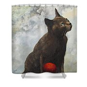 The Pious Cat Shower Curtain