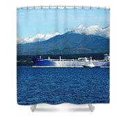 The Polar Resolution Oil Tanker Port Angeles Harbor Wa Shower Curtain