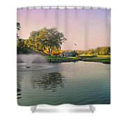 The Pond Fountain Shower Curtain