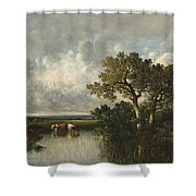 The Pond With Oaks Shower Curtain