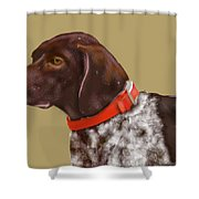 The Pooch With A Red Collar Shower Curtain