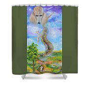 The Poodle Bridge Shower Curtain