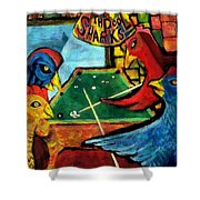 The Pool Sharks 1 Shower Curtain