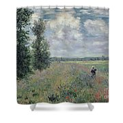 The Poppy Field Shower Curtain by Claude Monet