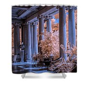 The Porch Of The European Collection Art Gallery At The Huntington Library In Infrared Shower Curtain