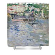 The Port At Nice Shower Curtain by Berthe Morisot