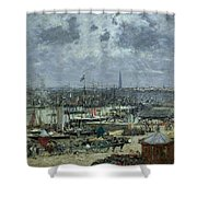 The Port Of Bordeaux Shower Curtain by Eugene Louis Boudin