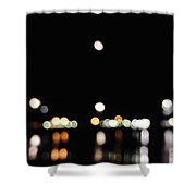The Port, The Lights, And The Moon Shower Curtain
