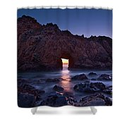 The Portal - Sunset On Arch Rock In Pfeiffer Beach Big Sur In California. Shower Curtain