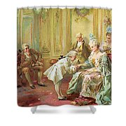 The Presentation Of The Young Mozart To Mme De Pompadour At Versailles Shower Curtain