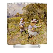 The Primrose Gatherers Shower Curtain