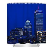 The Pru Lit Up In Red White And Blue For The Fourth Of July Shower Curtain