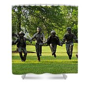 The Puddle Jumpers At Byers Choice Shower Curtain